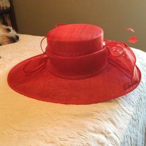 Organza Bucket Hat w/Bow & Feathers